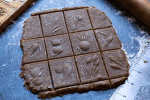 Speculaas. Cookie dough embossed and cut into squares